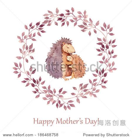 手绘贺卡与可爱的动物——母亲节母亲刺猬拥抱她的孩子.水彩绘画