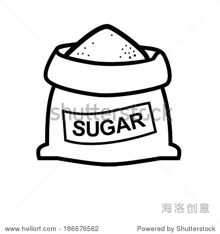 vector black sugar bag icon on white