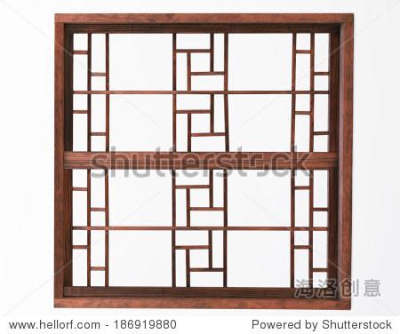 木头窗户孤立在白色背景