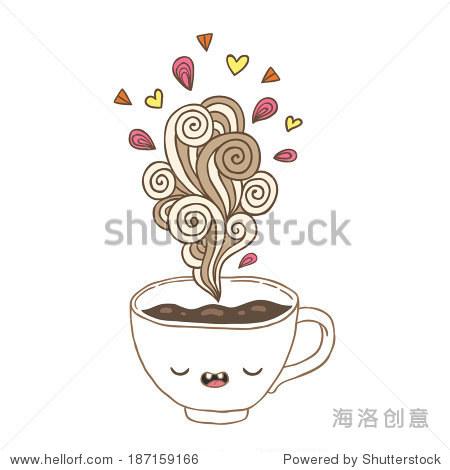 可爱的卡通涂鸦蒸汽咖啡杯-食品及饮料-海洛创意正版