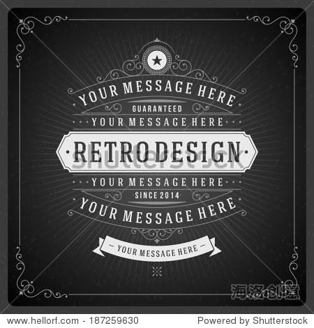 复古的黑板排版设计元素.模板设计请柬,海报和其他设计.