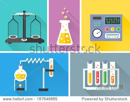 科学实验室设备装饰图标集瓶尺度燃烧器孤立的矢量图