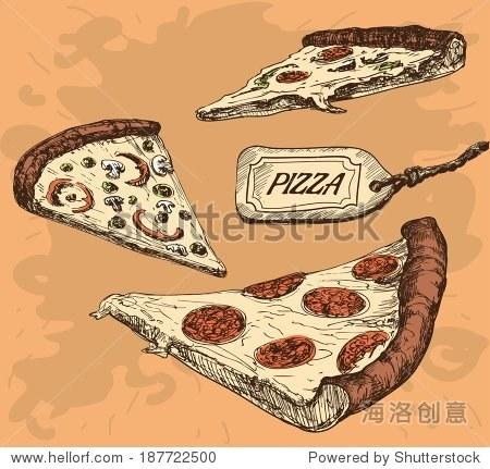 披萨.手绘插图