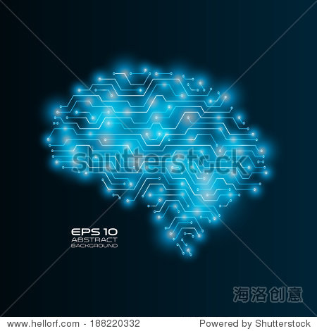 高技术背景.电路板绘制人类的大脑.未来的矢量插图.