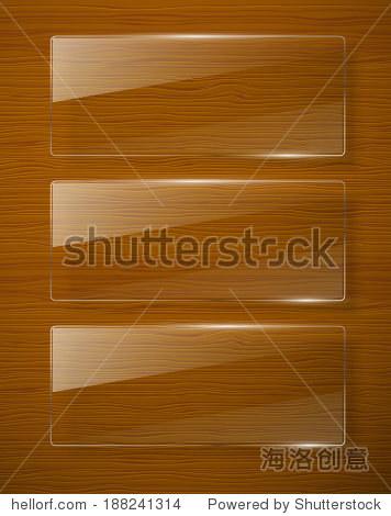 木质纹理玻璃框架.矢量图