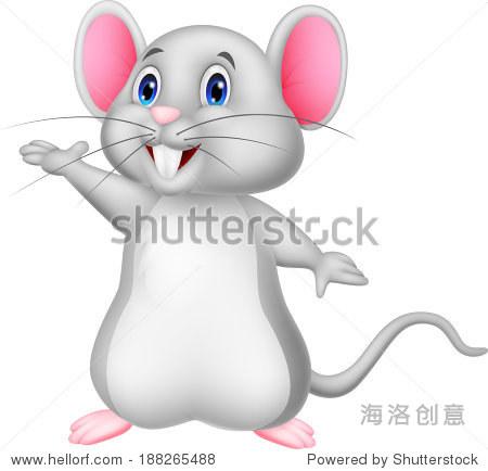 可爱的卡通老鼠挥舞着
