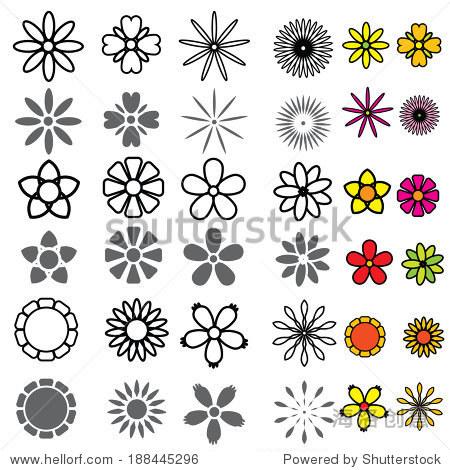 花朵图标集向量-自然,抽象-站酷海洛创意正版图片,,-.