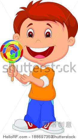 小男孩拿着棒棒糖糖果