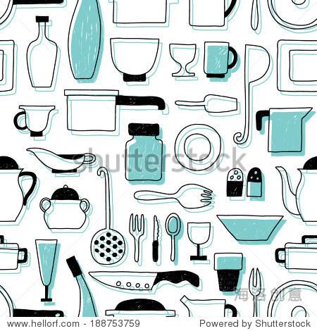 矢量模式厨房餐具