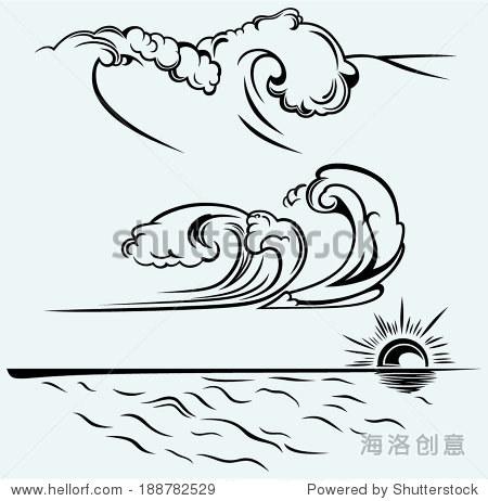 海浪简笔画 可爱