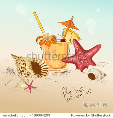 夏天手绘插图与贝壳,海星和鸡尾酒 - 动物/野生生物
