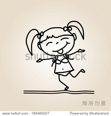 手绘卡通快乐的孩子-人物,抽象-站酷海洛创意正版图片