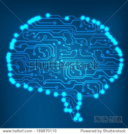 电路板计算机大脑风格向量技术背景.eps10插图与抽象的脑电路