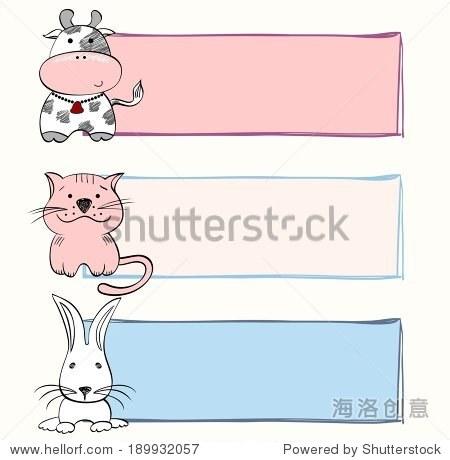 手绘与农场动物宝宝横幅