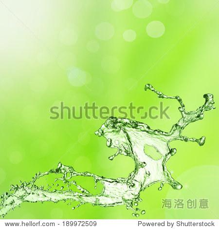春天绿色的背景,抽象背景的水溅 - 背景/素材,抽象