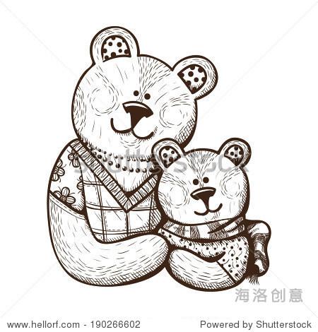素描卡元素与母亲和孩子.可爱的泰迪熊.快乐的母亲节.
