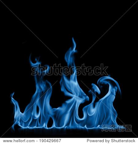 蓝色火焰隔离在黑色背景 - 背景/素材,自然 - 站酷,,.