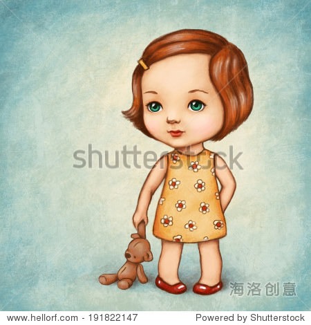 画泰迪熊的可爱的小女孩