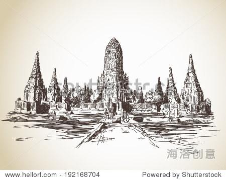 泰国建筑物简笔画-泰国寺庙住持涉嫌洗钱 信徒逼退警察执法