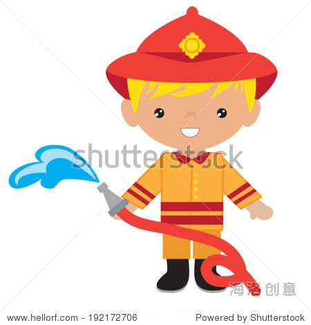可爱的消防员矢量图-人物-站酷海洛创意正版图片,视频