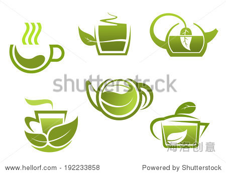 green tea symbols set for restaurant or beverage logo design.图片
