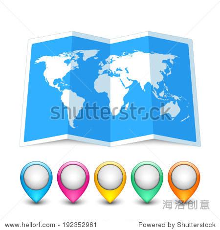 地图图标与五彩缤纷的销指针孤立在白色的.矢量图