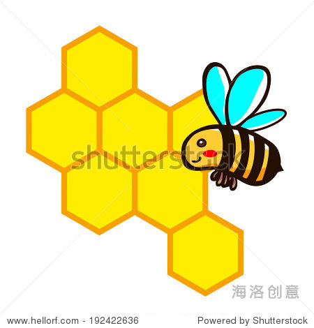 蜜蜂的蜂巢,插图漫画剪纸艺术向量