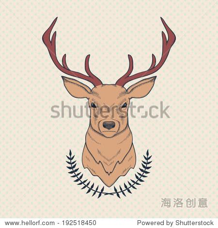 鹿和月桂的矢量手绘彩色插图-动物/野生生物,背景