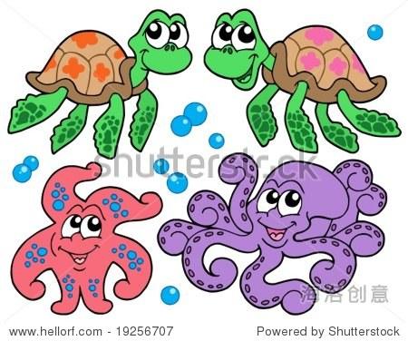 各种可爱的海洋动物集合——矢量插图