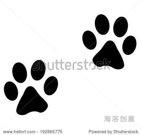 在白色背景矢量插图的动物脚印