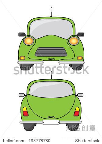 绿色汽车,正面和背面视图.