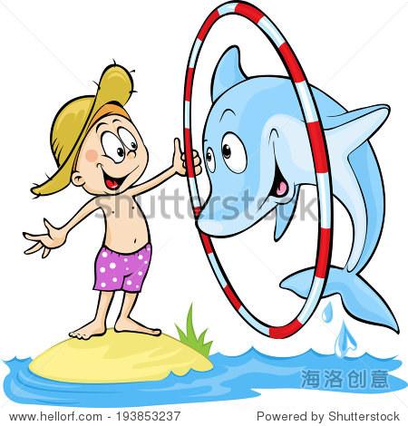 孩子玩海豚——可爱的矢量插图——海豚跳环