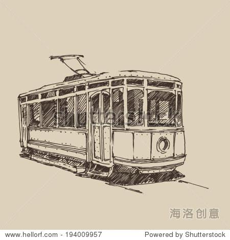 老式的有轨电车,刻图,手绘