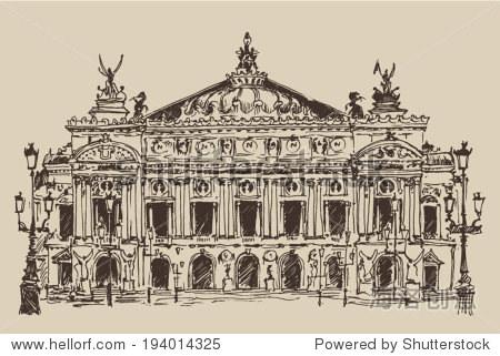 法国巴黎,宫殿加尼叶(巴黎歌剧院)古董刻图,手绘