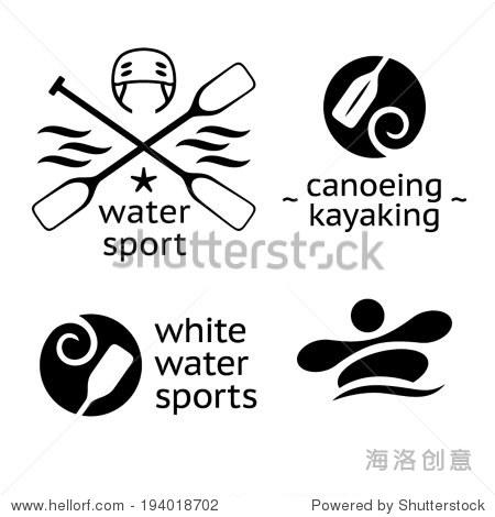 漂流划独木舟和皮划艇水上运动图标 - 符号/标志,运动