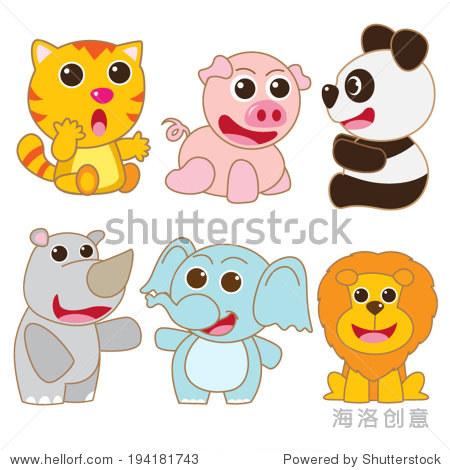 可爱的动物组熊猫大象猪卡通eps 10向量