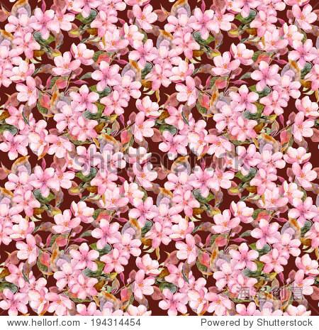 果树(苹果和樱桃樱)粉红色花.无缝的模板.水彩绘画