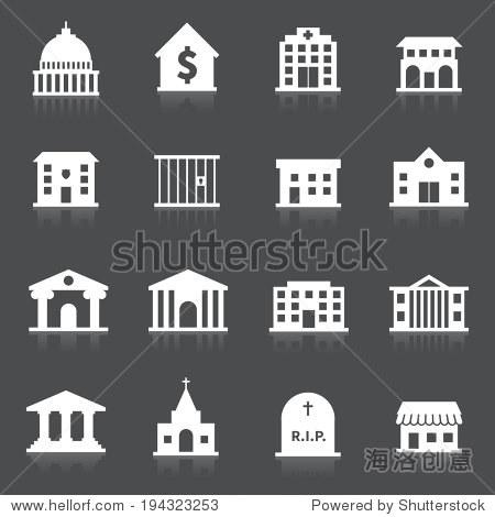 政府大楼图标组医院消防站公墓孤立的矢量图 - 建筑物