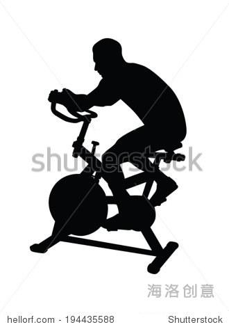 人在健身自行车运动矢量剪影
