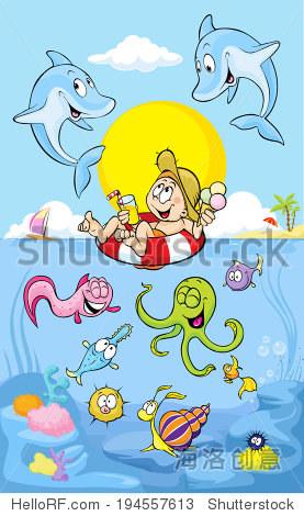 夏天与海豚在海里 - 动物/野生生物,人物 - 站酷海洛