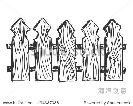 手绘漫画,素描的木栅栏