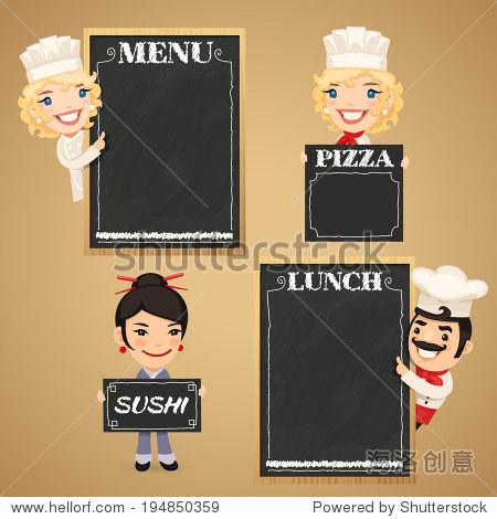 厨师卡通人物与黑板菜单.