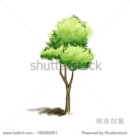 手绘水彩树矢量插图
