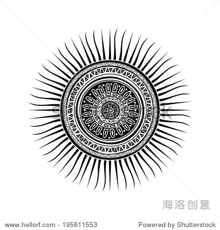 玛雅人的太阳象征,纹身设计在白色背景