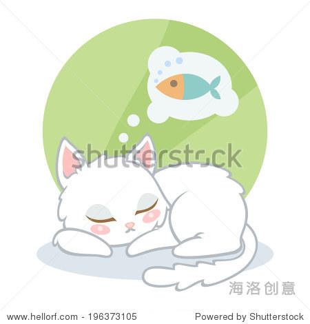 可爱的卡通白猫睡觉,梦见鱼在绿色背景上.矢量图