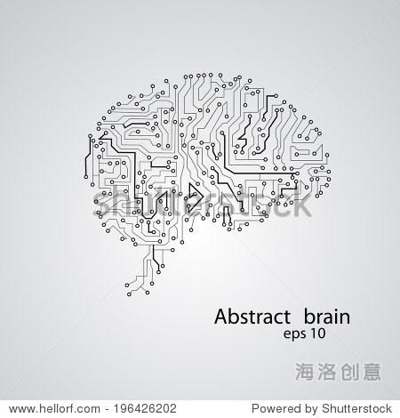 电路板大脑eps 10,矢量插图