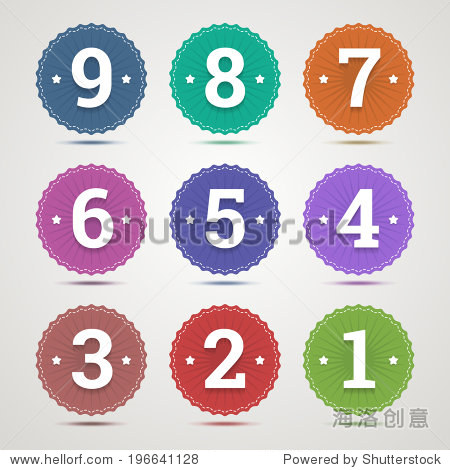 ��in9�)��,H9�)hI�_set of round emblems with numbers from 1 to 9 in