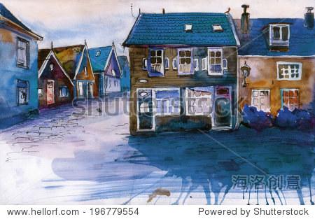 夜景的村庄房屋水彩画插图的海报 - 建筑物/地标,艺术