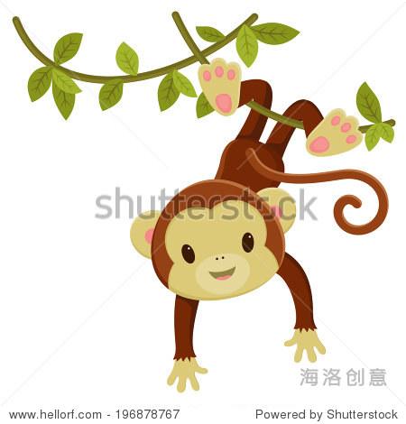 可爱的卡通猴子挂在藤蔓.向量剪贴画插图