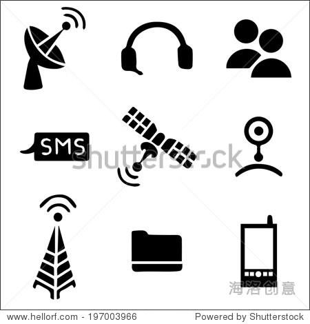 通信网络图标设置黑白色,手绘集合 - 科技,符号/标志